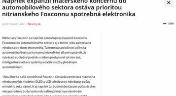 Noviny.sk: Prioritou Foxconnu Slovakia zostáva spotrebná elektronika
